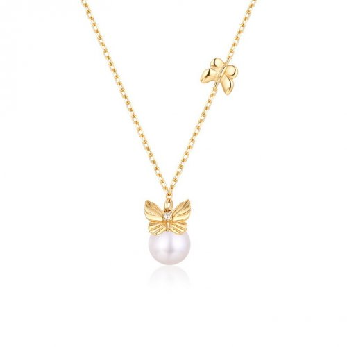 Pearl & butterfly stering silver necklace in 9K gold vermeil