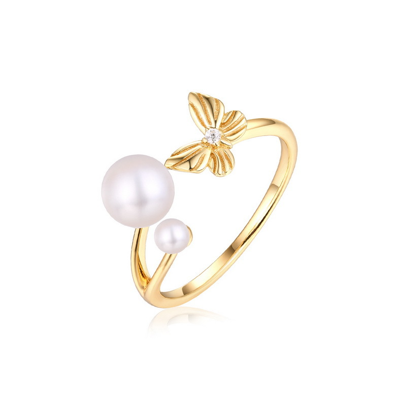 Pearl & butterfly stering silver open ring in 9K gold vermeil