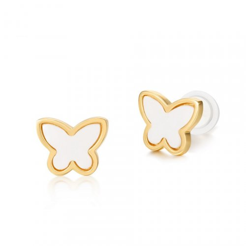 White agate sterling silver butterfly earrings