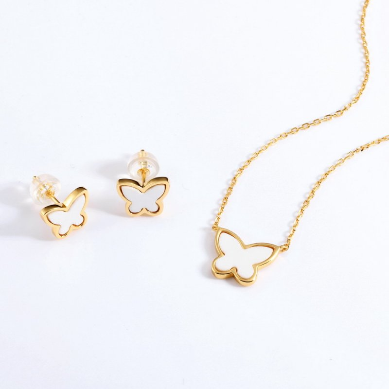 White agate butterfly sterling silver jewelry set in 9K gold vermeil