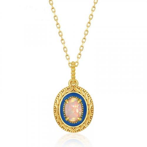 Blue lover opal sterling silver pendant in 9K gold vermeil