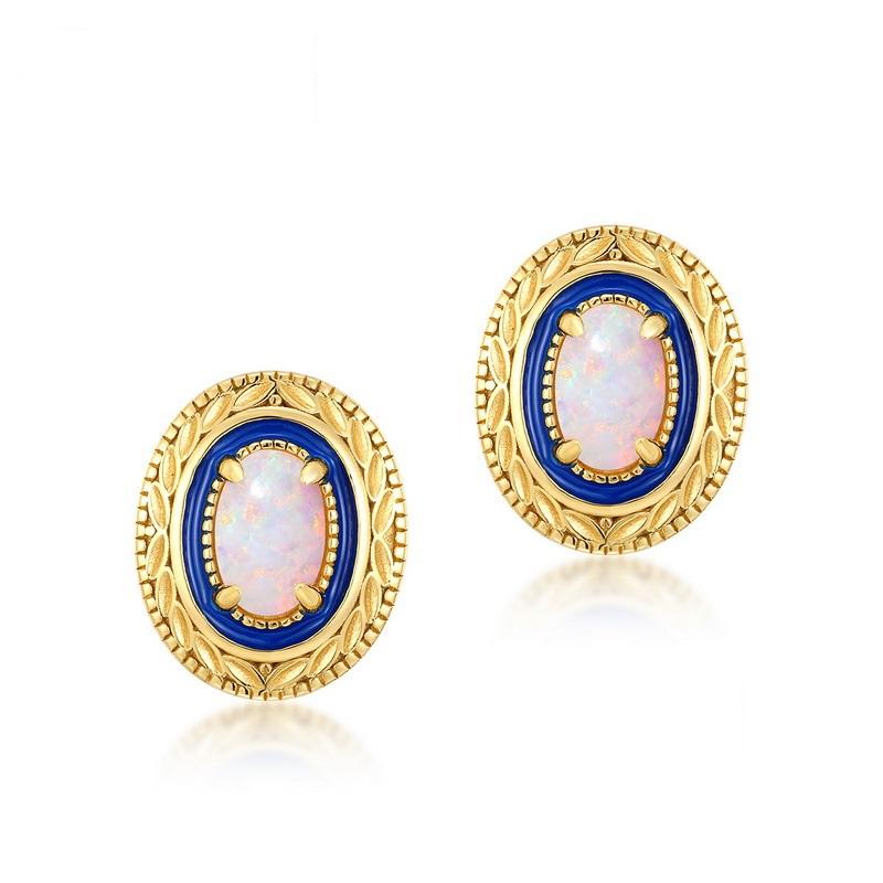 Blue lover opal sterling silver stud earrings in 9K gold vermeil