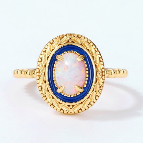 Vintage sterling silver fire opal ring