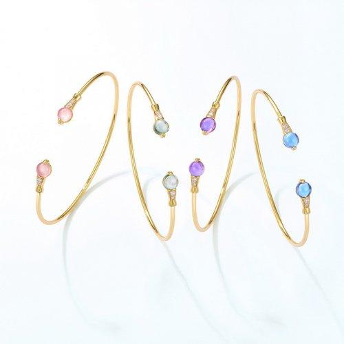 Colored quartz sterling silver cuff bracelet in 9K gold vermeil