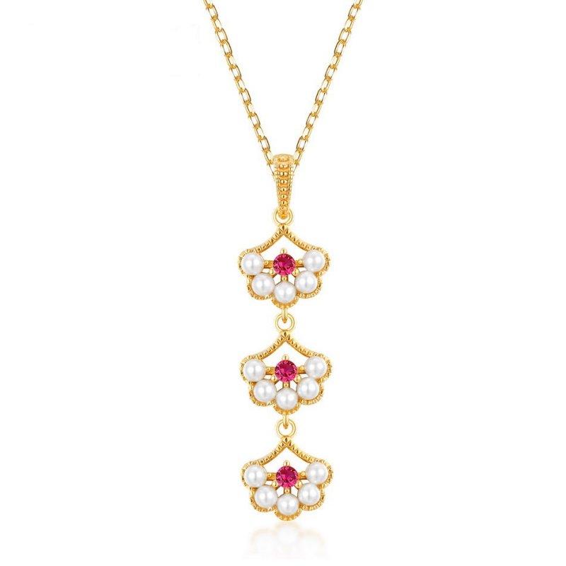 Petals red corundum pearl silver pendant