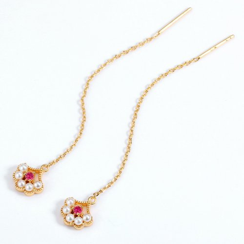 Petals silver pearl threader earrings