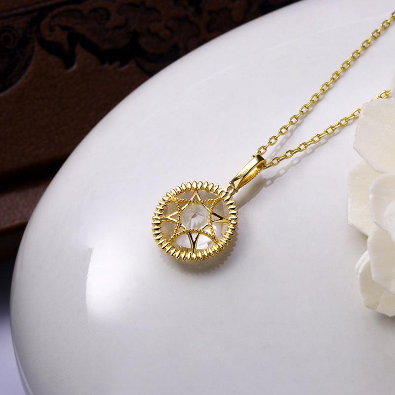White quartz double-side sterling silver pendant in 14K gold vermeil