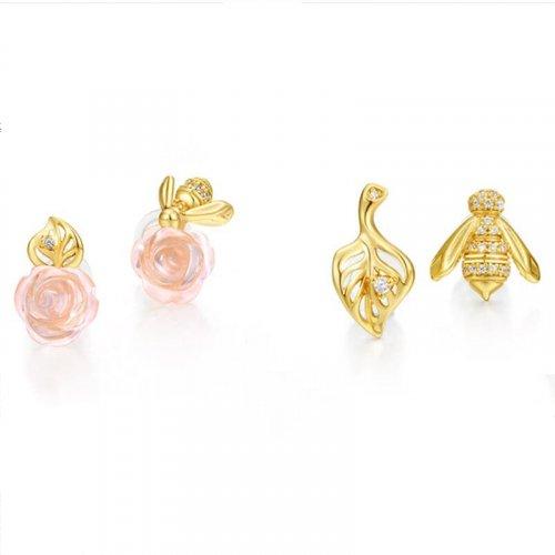 Bee & rose sterling silver jewelry set in 9K gold vermeil
