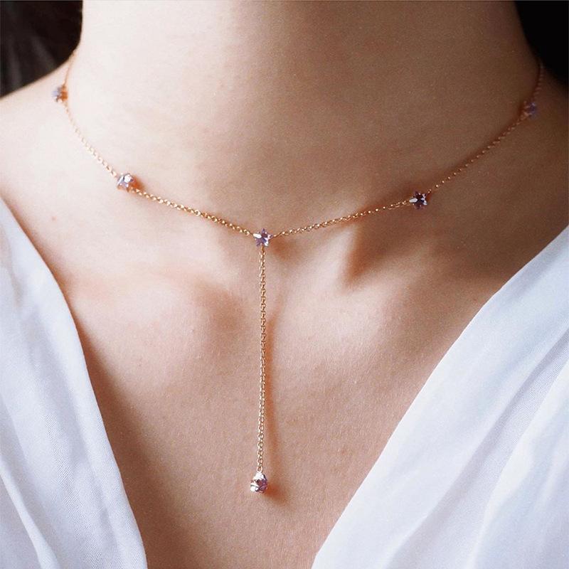 Purple zircon sterling silver tassel choker necklace