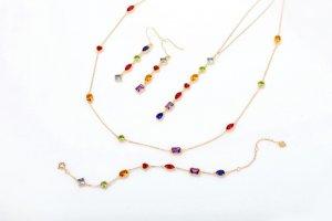 colored zircon silver jewelry set
