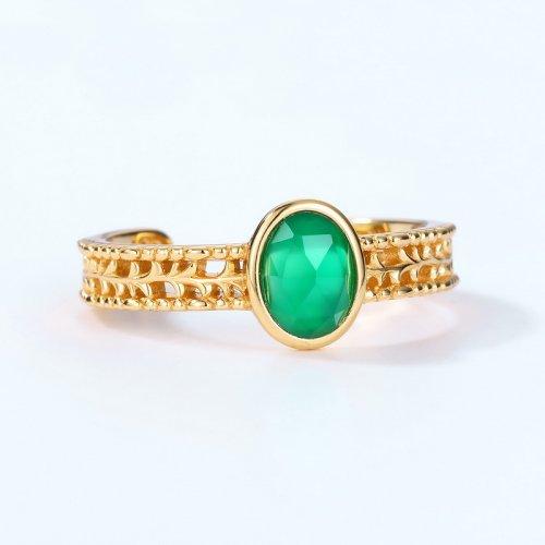 STJS00352 green agate open ring 1