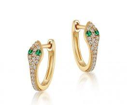 Glamor snake earrings with shiny zircons