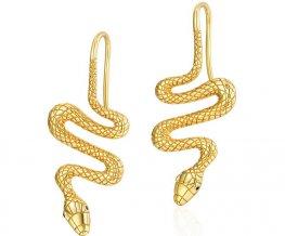 Glamor 14K gold vermeil snake earrings