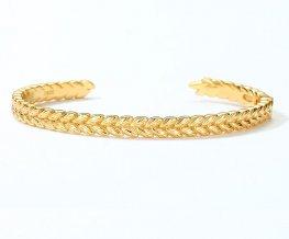 Vintage braided sterling silver cuff bracelet in 10K gold vermeil