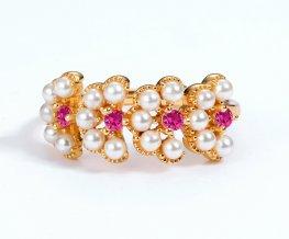 Flower petals red corundum & pearl ring