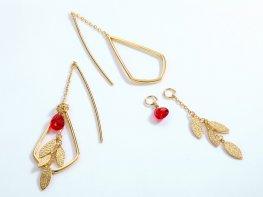Red quartz sterling silver drop earrings