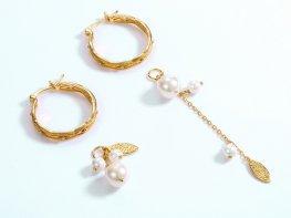 White pearl asymmetric sterling silver huggie earrings