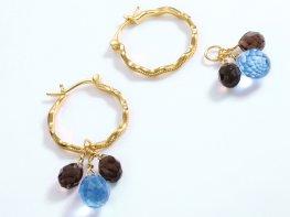 Three-quartz sterling silver huggie earrings