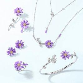 Purple daisy sterling silver jewelry set